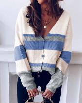 Blue Button striped stitching sweater