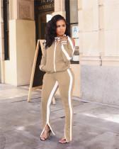 Khaki Off-the-shoulder sports two-piece fashion suit two-piece