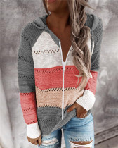 Gray Fashion striped stitching cardigan
