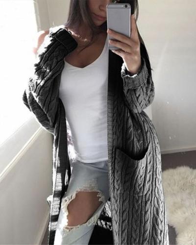Dark Gray Long double pocket full body twist sweater cardigan