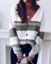 Gray Button striped stitching sweater