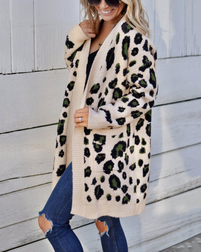 Apricot Fashion three-color leopard sweater cardigan