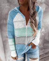 Blue Fashion striped stitching cardigan
