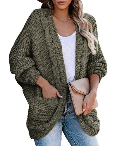 Green Casual twisted rope bat sleeve sweater coat