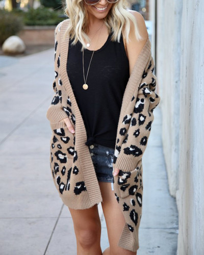 Khaki Fashion three-color leopard sweater cardigan