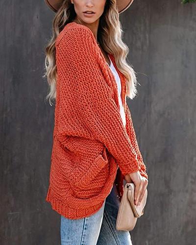 Orange Casual twisted rope bat sleeve sweater coat