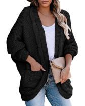 Black Casual twisted rope bat sleeve sweater coat