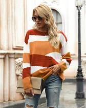 Khaki Irregular stripes color block pullover