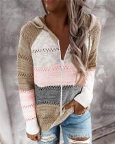 Khaki Fashion striped stitching cardigan
