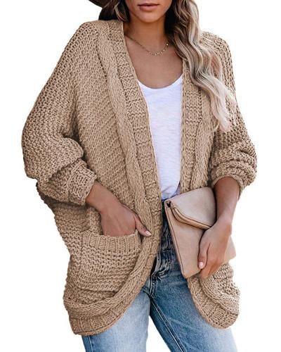 Khaki Casual twisted rope bat sleeve sweater coat