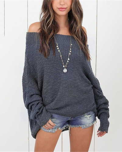 Gray Plus size sweater women off-shoulder sweater
