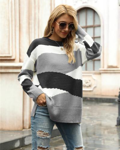 Gray Irregular stripes color block pullover