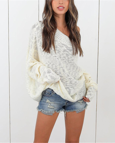 White Plus size sweater women off-shoulder sweater