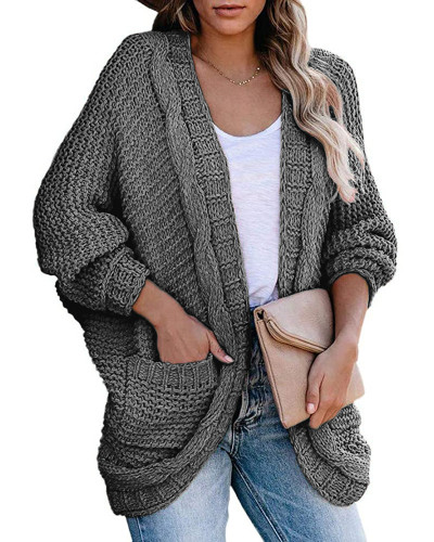 Gray Casual twisted rope bat sleeve sweater coat