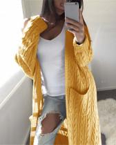 Yellow Long double pocket full body twist sweater cardigan