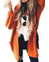 Lantern sleeve mid-length coat sweater