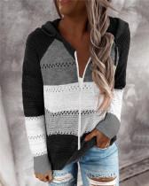 Black Fashion striped stitching cardigan