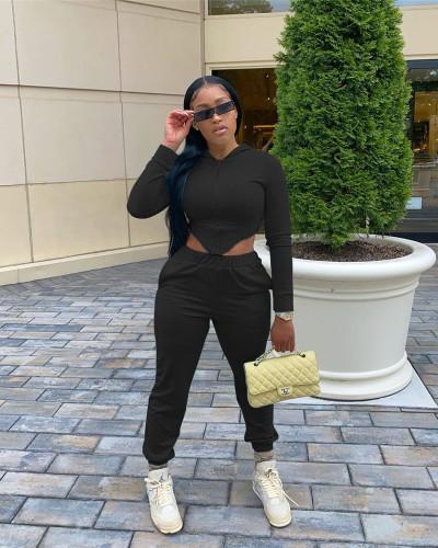 Black Slim waist high elastic cotton sports two-piece suit