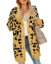 Yellow Lantern sleeve button leopard print cardigan sweater