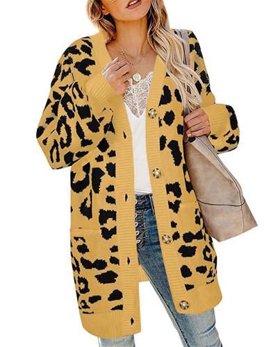 Yellow Lantern sleeve button leopard print cardigan sweater