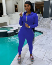 Bule Hooded zipper stretch sports and leisure two-piece suit