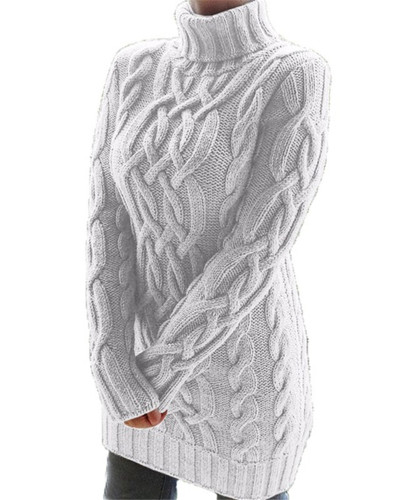 White Retro thick line twist sweater dress