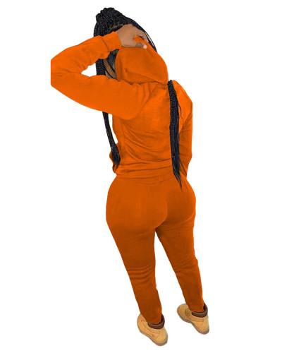 Orange Casual hooded sweatshirt sports suit two-piece suit