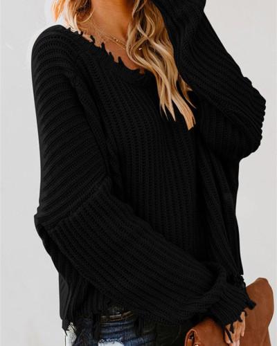 Black Deep V-neck cropped fringed sweater