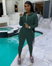 Dark green Hooded zipper stretch sports and leisure two-piece suit