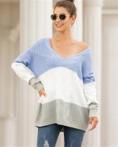 Blue V-neck off-shoulder twist color-block pullover sweater