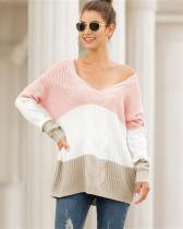 Pink V-neck off-shoulder twist color-block pullover sweater