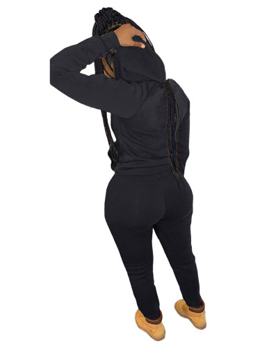 Black Casual hooded sweatshirt sports suit two-piece suit