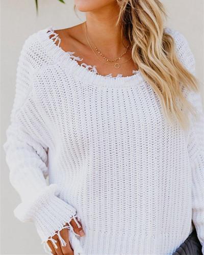 White Deep V-neck cropped fringed sweater