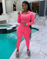 Pink Hooded zipper stretch sports and leisure two-piece suit