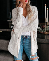 Gray Loose bat sleeve pocket cardigan sweater