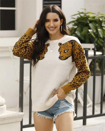 Apricot Two leopard head sweaters
