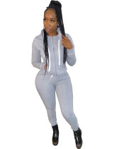 Gray Casual hooded sweatshirt sports suit two-piece suit