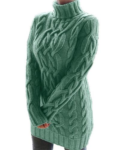 Green Retro thick line twist sweater dress