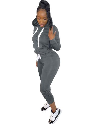 Dark gray Casual hooded sweatshirt sports suit two-piece suit