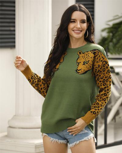 Green Two leopard head sweaters