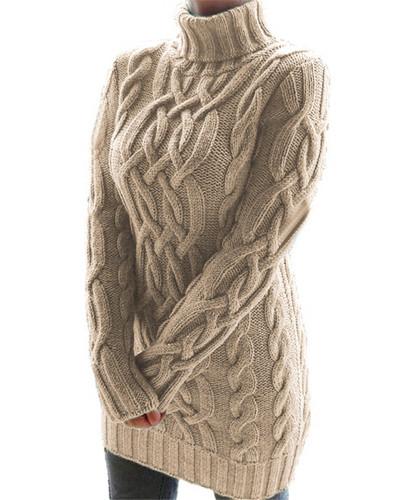 Khaki Retro thick line twist sweater dress