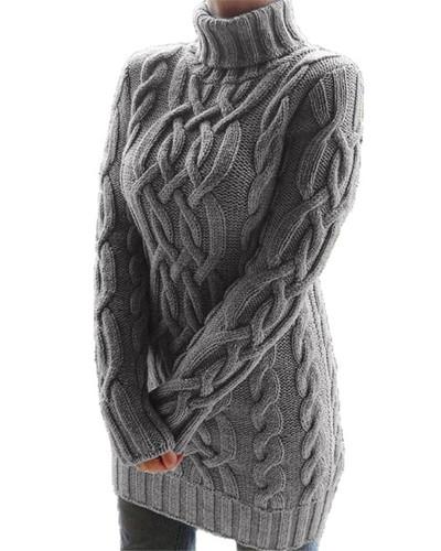 Gray Retro thick line twist sweater dress