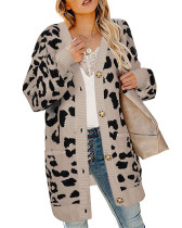 Khaki Lantern sleeve button leopard print cardigan sweater