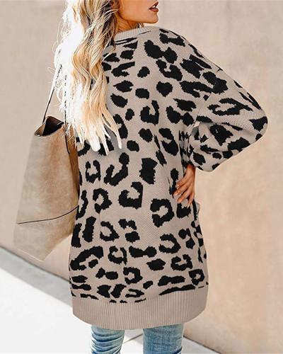 Khaki Lantern sleeve button leopard print cardigan sweater
