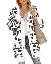 White Lantern sleeve button leopard print cardigan sweater