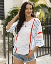 Fashion vertical stripes color-block sweater