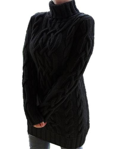 Black Retro thick line twist sweater dress