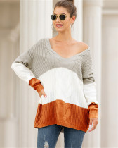 Gray V-neck off-shoulder twist color-block pullover sweater