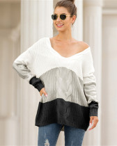 Black V-neck off-shoulder twist color-block pullover sweater