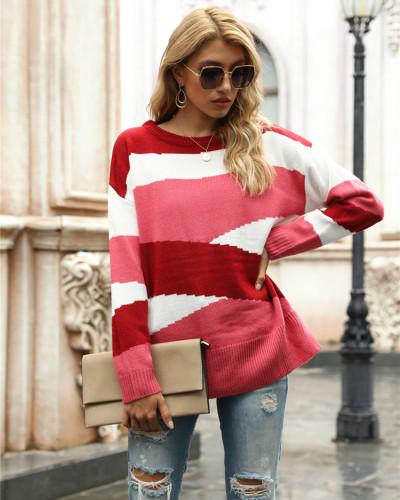 Red Irregular stripes color block pullover